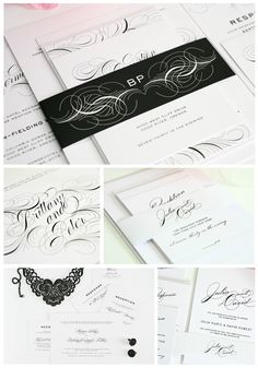 Glamorous wedding invitations.  So luxe!