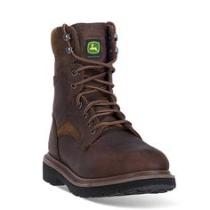 John Deere Men's Lace-Up Work Boots, Size: 8 Wide, Brown