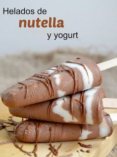 Helados de Nutella y yogurt (Solo 2 Ingredientes! Nutella Brownies, Nutella Popsicles, Coffee Popsicles, Yogurt Popsicles, Yogurt Ice Cream, Frozen Yoghurt, Vegan Ice Cream, Sweet Desserts, Sweet Recipes