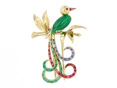 French Bird of Paradise Brooch in 18K