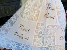 Vintage Apron, New Orleans, Louisiana Souvenir, White Lace, Embroidery, Mardi Gras, New Old Stock, Unused. by TomCatBazaar on Etsy
