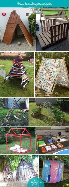 Ideas de casitas y cabañas para un patio de escuela. Crea un espacio acogedor para fomentar el juego simbólico y momentos de descanso en la hora del patio. Backyard Play, Outdoor Play Spaces, Kids Outdoor Play, Outdoor Learning, Outdoor Playground, Outdoor Games, Outdoor Fun, Learning Environments, Learning Spaces