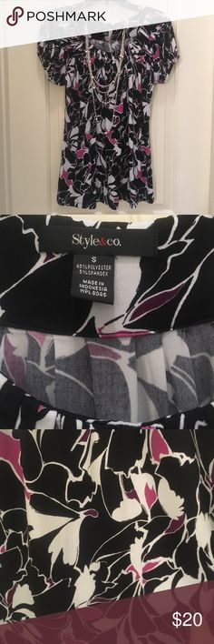 Black/Pink Style & Co blouse.  Size S. Great with a pair of black slacks and heels to dress it up, or go more comfy casual with a pair of ballet flats.  This blouse is a must have for your work wardrobe.  Abstract floral pattern with black/white/hot pink/purple coloring.  Worn a handful of times and in excellent condition.  Flattering fit and soft fabric.  Very comfortable. Style & Co Tops Blouses