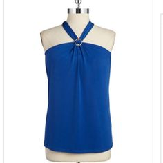 """top A sexy self-tie halter neckline and goldtone embellishment add feminine flare to this top. Halter neckline Sleeveless Partially lined About 28"""" from shoulder to hem Polyester/spandex. I have it black color. Ivanka Trump Tops"""