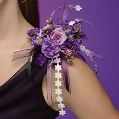 """This fun mixture of miniature """"moon"""" carnations, lavender roses and asters can sit high on a shoulder or worn as a wrist corsage. Investigate the lace aisle in the fabric department for great ribbons and accents to add to your corsage. Prom Corsage And Boutonniere, Bridesmaid Corsage, Corsage Pins, Flower Corsage, Corsage Wedding, Wrist Corsage, Wedding Bouquets, Boutonnieres, Homecoming Flowers"""
