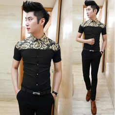 Fashion 2014 Golden Floral Splicing Fancy Shirt Charming Party Club Clothing Slim Man Shirts $25.88