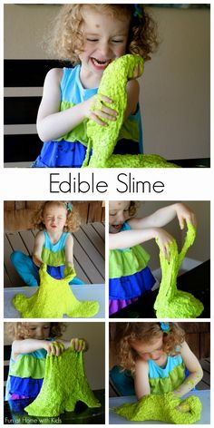{New Recipe} All-Natural Edible Slime!  No cook recipe that's ready in less than 5 minutes.  Feels and acts just like traditional slimes without any chemicals!  From Fun at Home with Kids