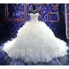 Cathedral Royal Train Organza Ruffle Ball Gown Wedding Dress With Sweetheart Neckline $289.00