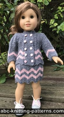 ABC Knitting Patterns - American Girl Doll Warm-in-Brioche Set: Skirt and Vest Crochet Jacket Pattern, Skirt Pattern Free, Knitted Doll Patterns, Knitted Dolls, Knitting Patterns, Free Doll Clothes Patterns, Free Pattern, Crochet Patterns, Knitting Dolls Clothes