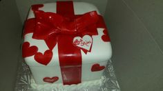 Calumet Bakery Be Mine Gift Box Cake Calumet Bakery, Gift Box Cakes, Birthday Cakes, Fondant, Valentines, Decoration, Sweet, Desserts, Gifts