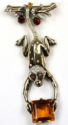 Trifari Sterling 'Alfred Philippe' Monkey Swinging by his Tail from a Branch Holding a Topaz Gift Package Pin