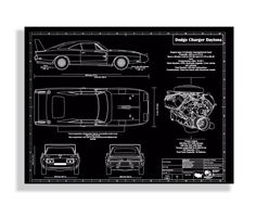 Auto art patent print ford mustang gen 6 blueprint ford mustang 1969 dodge charger daytona engraved wall art blueprint art malvernweather Image collections