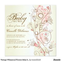 Vintage Whimsical Flowers Baby Shower Invitation