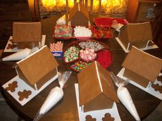 : Gingerbread House Decorating Party with homemade gingerbread and royal icing. Why buy those premade kits when you can bake it yourself for a fraction of the cost (and get a lot more candy too)? Gingerbread Birthday Party, Gingerbread House Parties, Christmas Gingerbread House, Christmas Cookies, Gingerbread Houses, Its Christmas Eve, Christmas Baking, Christmas Holidays, Christmas Crafts