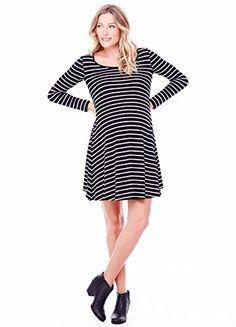 893a063bca Ingrid   Isabel Women s Maternity Long Sleeve Stripe Trapeze Dress