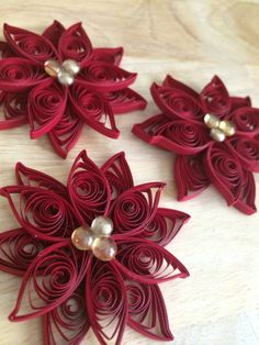 Set of 3 Quilled Poinsettia Ornaments by NaturalBornQuiller, $9.00
