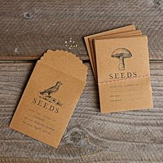 Seed Saving Packets: Collecting seeds from your seasonal harvest is the best way to share your favorite fruits and vegetables and preserve them for years to come. Our custom seed collection packages are embellished with vintage letterpress graphics and provide ample room for notation.