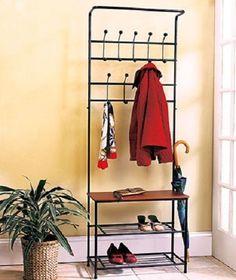 Coat Rack Bench Stand Entryway Shoe Umbrella Hat Jacket Holder Storage Organizer - $88