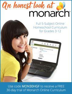 An Honest Look at Monarch Online Homeschool Curriculum - Homeschool Giveaways How To Start Homeschooling, Online Homeschooling, Homeschool Curriculum Reviews, Teacher Page, School Fun, School Days, School Stuff, Middle School