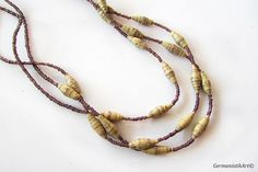 Natural Paper Bead Necklace Quilling Necklace with Glass and