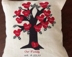 Mickey Mouse inspired, Family Tree, Pillow cover, personalized, embroidered, handmade,  burlap pillow cover, CIJ