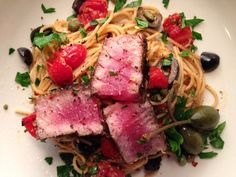 Seared Ahi Tuna Pasta Puttanesca with a Fresh Tomato and Caper Sauce