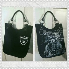Oakland Raiders Handbag up for grabs! Check out this item in my Etsy shop https://www.etsy.com/listing/386931158/nfl-oakland-raiders-black-and-white