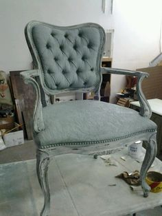 Chair painted with annie sloan including fabric