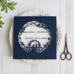 fairytale navy blue laser cut wedding invitations swws025