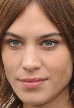 Close-up of Alexa Chung at the Burberry Fall 2016 show.