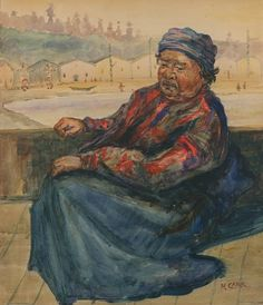 Emily Carr ~ Native Woman at Alert Bay ~ c. watercolour on paper, 13 x 11 in Canadian Painters, Canadian Artists, Franklin Carmichael, Tom Thomson, Emily Carr, Group Of Seven, Indian Village, Impressionist Paintings, Nature Paintings