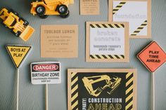 signage  construction birthday party stationery | #construction theme birthday #construction truck birthday party