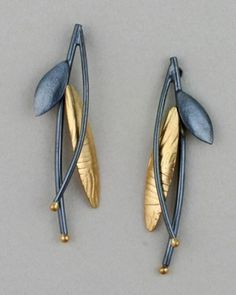 Sydney Lynch earrings, oxidized silver, 22K gold.
