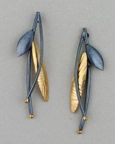 Sydney Lynch--Black & Gold Prairie Grass earrings #bijouxfantaisie #bijouxcreateur #cadeaux #femme #ideescadeaux