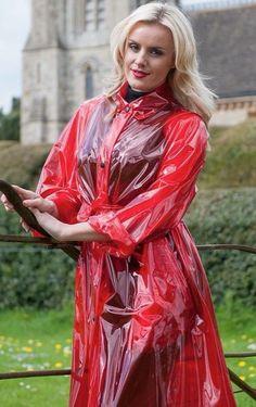 Red Leather, Leather Jacket, Vinyl Raincoat, Rain Coats, Jackets, Fashion, Art, Projects, Studded Leather Jacket