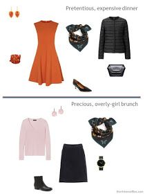 two outfits from a tiny travel capsule wardrobe in black, teal, orange and pink