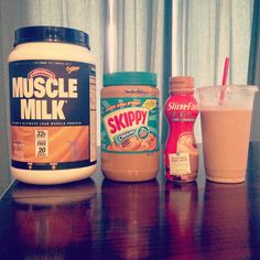 Best tasting meal replacement shake ever. 1 scoop muscle milk mocha flavored protein, 1-2 tbs peanut butter, 5-10oz cappuccino slim fast shake, ice. Blend together. 340-440 calories depending on how much peanut butter or slim fast shake you use.