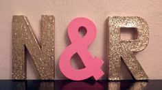 Items similar to FEATURED in REAL SIMPLE - Glitter Block Letters - Monogram or Initials - Gold or Silver or neon - 2 glitter letters and one solid ampersand on Etsy Glitter Letters, Monogram Letters, Gold Letters, Painted Letters, Wooden Letters, Design Fonte, Decoupage, Glitter Wedding, Glitter Hair