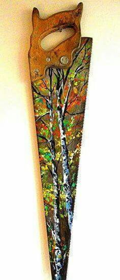 Birch Hand Saw by Lindsey Dahl Acrylic ~ 24 x Tole Painting, Painting On Wood, Painting & Drawing, Metal Art, Wood Art, Hand Saw, Painting Inspiration, Diy Art, Art Projects