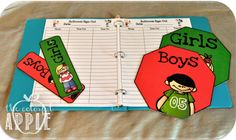 The Colorful Apple: Bathroom Signs.  Red means that someone is out and green means that a boy/girl are in.  Also, a sign in/out sheet included in packet.
