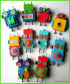 DIY Robot Idea with Colored Wooden Blocks, Simple Hardware, ABCs, Geo Shapes, and Recyclables. Such Fun & Games with Creative Robot Characters. By Jen Hardwick Wood Crafts, Fun Crafts, Arts And Crafts, Upcycled Crafts, Recycled Art, Recycled Robot, Recycled Materials, Diy For Kids, Crafts For Kids