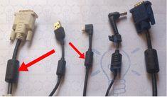 Le cylindre sur le câble du chargeur de l'ordinateur