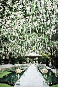 Go on, be amazed by this wedding ceremony idea! Photo: Axioo Photography via Bridal Guide These wedding ceremony ideas below prove that you can go all out with the first half of your day, and still have a reception that's just as beautiful. Wedding Ceremony Ideas, Wedding Walkway, Ceremony Decorations, Outdoor Ceremony, Wedding Themes, Wedding Reception, Decor Wedding, Budget Wedding, Wedding Table