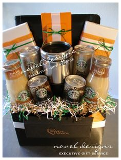 DIY Coffee Lover's Gift...Fill a basket with coffee drinks, coffee, chocolates, chocolate covered coffee beans, gift card to a coffee place, etc…