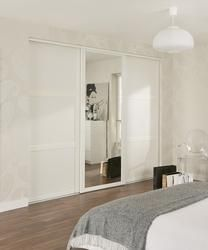 Shaker Panel & Mirror Door White   Sliding Wardrobe Doors   Doors & Joinery   Howdens Joinery