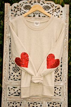I want this for Valentines Day! Sequin Heart Elbow Patch Dazzle Patch.