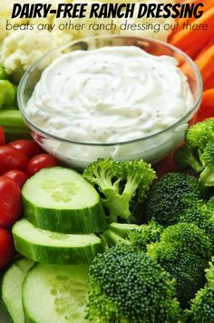 Hands down this Ranch Dressing beats any other recipe out there and it's dairy free. Bakerette.com (vegan, vegetarian, dairyfree)