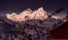 Everest Summit and prayer flags in the Himalayas by Arsenii Gerasymenko on 500px
