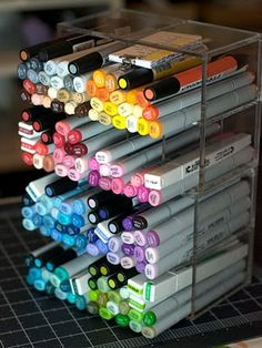 Copic marker storage - using Acrylic Partition Desk Tidy from Muji