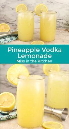 Spiked Lemonade, Pineapple Lemonade, Lemonade Cocktail, Cocktail Drinks, Pineapple Vodka Drinks, Bourbon Drinks, Liquor Drinks, Easy Mixed Drinks, Mixed Drinks Alcohol